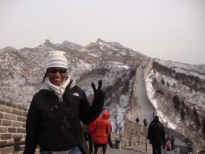 Adelphi Student at the Great Wall of China